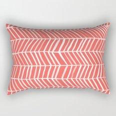 Coral Herringbone Rectangular Pillow