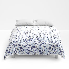Floating Dots - Gray and Blues on White Comforters