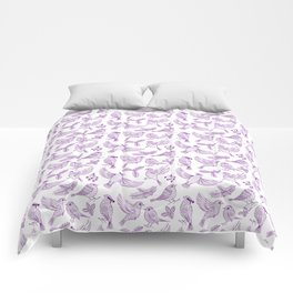 Winter Birds and Foliage Pattern (Purple) Comforters