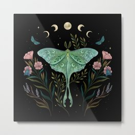 Luna Moth and Foresters Metal Print