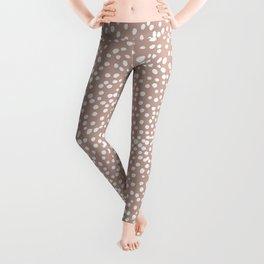 Little wild cheetah spots animal print neutral home trend warm dusty rose coral Leggings