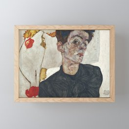 Egon Schiele Self-Portrait with Physalis, 1912 Framed Mini Art Print