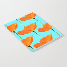 Poppies On A Turquoise Background #decor #society6 #buyart Notebook