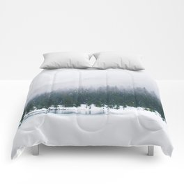 Evergreen Winter Forest (Color) Comforters