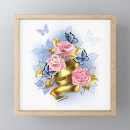 Pink Roses with Gold Ribbon Framed Mini Art Print