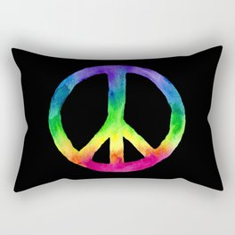 Rainbow Watercolor Peace Sign - Black Background Rectangular Pillow