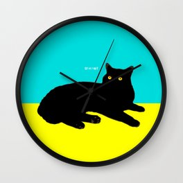 Black Cat on Yellow and Sky Blue Wall Clock