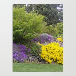 Beautiful Landscape With Purple and Gold Flower, Lush Landscape, Green Poster