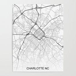 Charlotte NC Map White USA Poster