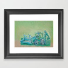 Traktor blue Framed Art Print