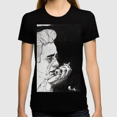 Man in Black Black Womens Fitted Tee LARGE