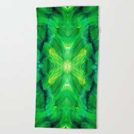 Brush play in hues of green 13 Beach Towel