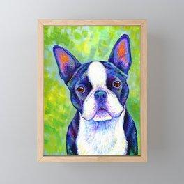 Effervescent - Colorful Boston Terrier Dog Framed Mini Art Print