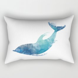 Watercolor playing Dolphin Rectangular Pillow