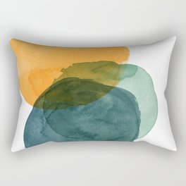 Watercolor Circles in Autumn Shades of Mustard and Teal Rectangular Pillow