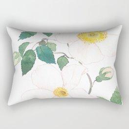 white wild Rosa rubiginosa watercolor Rectangular Pillow