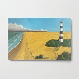 Candy-Striped Black and White Lighthouse, coastal beach landscape painting by Fernando de Gorocica Metal Print