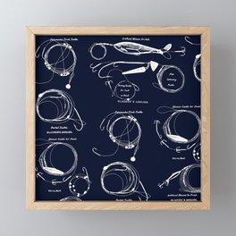 Maritime pattern- white fishing gear on darkblue background Framed Mini Art Print