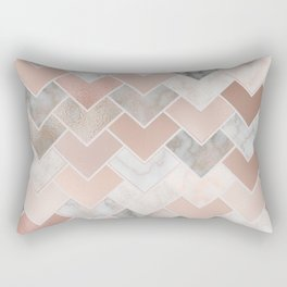 Rose Gold and Marble Geometric Tiles Rectangular Pillow
