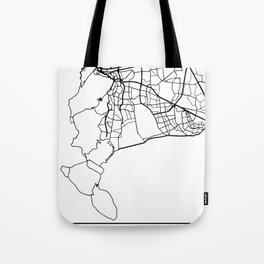 CAPE TOWN SOUTH AFRICA BLACK CITY STREET MAP ART Tote Bag