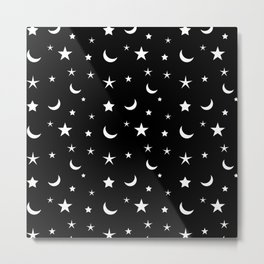 Black and White moon and star pattern Metal Print