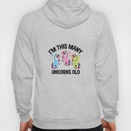 I'm This Many Unicorns Old Tee 3 Yr Third Birthday Unicorn Hoody
