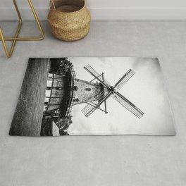 Historic Dutch Fabyan Windmill Hollan Smock Mill Geneva Illinois Black and White Rug
