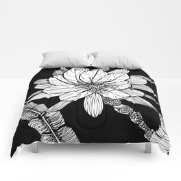 Orchid Cactus in Black and White Comforters