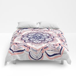 Woven Dream - Mandala in Pink, White and deep Purple Comforters