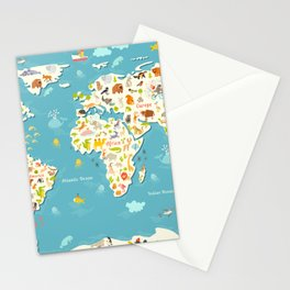 Animals world map. Beautiful cheerful colorful vector illustration for children and kids Stationery Cards