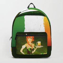 Leprechaun woman with beer Backpack