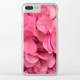 Pink Shabby Chic Hydrangea Flower Prints Clear iPhone Case