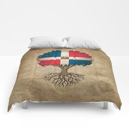 Vintage Tree of Life with Flag of Dominican Republic Comforters