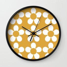 Geometric Golden Yellow & White Summer Daisies Wall Clock