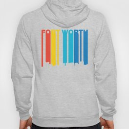 Retro 1970's Style Fort Worth Texas Skyline Hoody