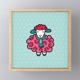 Doodle Sheep on Aqua Triangle Background Framed Mini Art Print