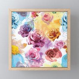 Watercolor Roses Framed Mini Art Print