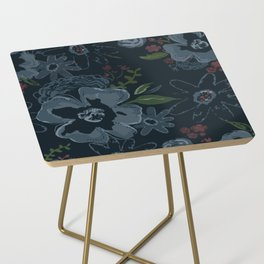 Moody Blues Floral Pattern Side Table