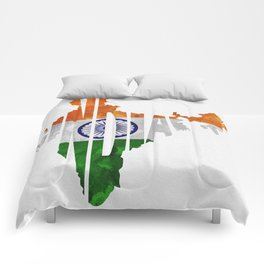India World Map / Indian Typography Flag Map Art Comforters