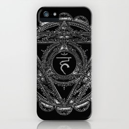 Black and White Throat Chakra iPhone Case