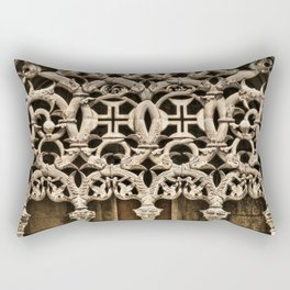 Gothic tracery at Batalha, Portugal, with the Knights Templar cross Rectangular Pillow