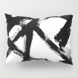 Brushstroke 5 - a simple black and white ink design Pillow Sham