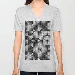Op art pattern with black white rhombuses Unisex V-Neck