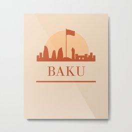 BAKU AZERBAIJAN CITY SKYLINE EARTH TONES Metal Print