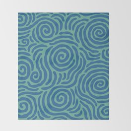 Ripple Effect Pattern Blue and Green Throw Blanket