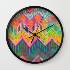 Tribal Chevron - Yellow Wall Clock