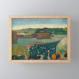 Haystacks in Brittany Oil Painting by Paul Gauguin Framed Mini Art Print