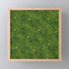 Green floral mix Framed Mini Art Print
