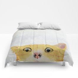 Curious Orange Cat Comforters