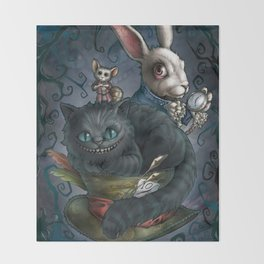 The Cheshire Cat and his friends Throw Blanket